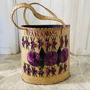 Large woven wicker floral Bahamas beach bag
